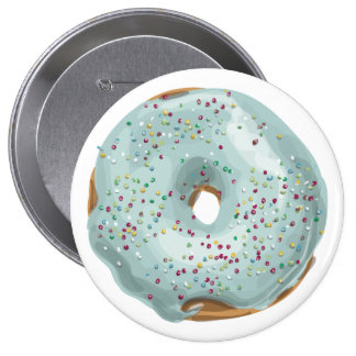 Sprinkles Doughnut with Blue Frosting. 10 Cm Round Badge