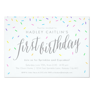 Sprinkles First Birthday Invitation, Cute & Modern Card