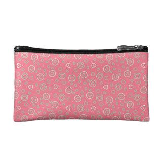 Sprinkles of fun on rose pink makeup bag