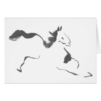 Sprint, a Galloping Horse, sumi-e Card