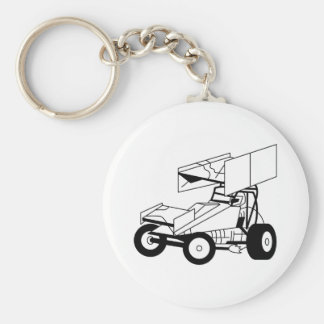 Sprint Car Outline Basic Round Button Key Ring