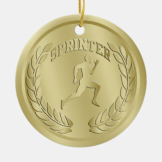 Sprinter Gold Toned Medal Ornament