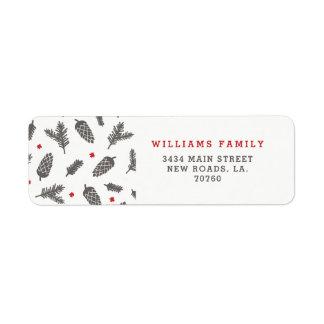 Spruce and Pine Christmas Return Address Label