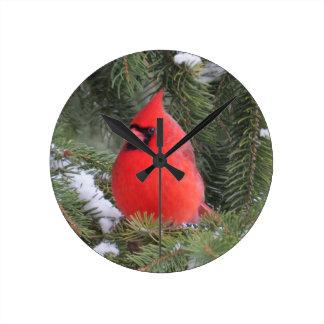 Spruce cardinal round clock