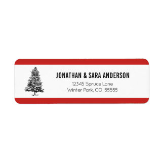Spruce Tree Red and White Return Address Label