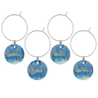 Spruce Tree Winter Blue Christmas #4 Snow Wine Glass Charms