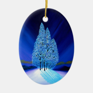 Spruce Trees Blue Christmas Seven Ceramic Oval Decoration