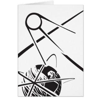 Sputnik over Earth Black and White Card