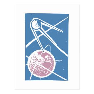 Sputnik over Earth Postcard