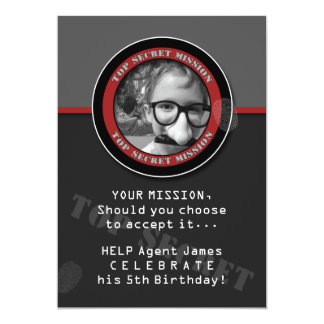 SPY Birthday Party CUSTOM Photo Invitation