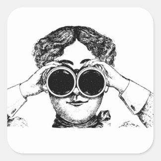 spy girl picture square sticker