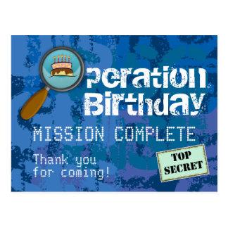Spy / Secret / Special Agent Birthday Thank You Postcard