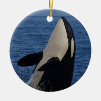 Spyhopping Orca Ceramic Ornament