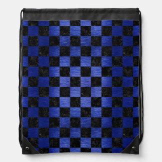 SQUARE1 BLACK MARBLE & BLUE BRUSHED METAL DRAWSTRING BAG