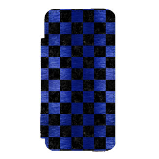 SQUARE1 BLACK MARBLE & BLUE BRUSHED METAL INCIPIO WATSON™ iPhone 5 WALLET CASE