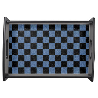 SQUARE1 BLACK MARBLE & BLUE DENIM SERVING TRAY