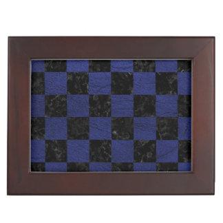 SQUARE1 BLACK MARBLE & BLUE LEATHER KEEPSAKE BOX