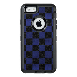 SQUARE1 BLACK MARBLE & BLUE LEATHER OtterBox DEFENDER iPhone CASE