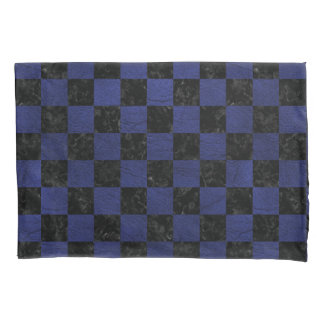 SQUARE1 BLACK MARBLE & BLUE LEATHER PILLOWCASE