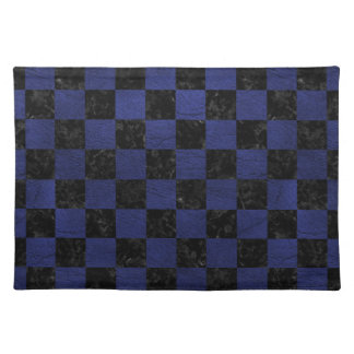 SQUARE1 BLACK MARBLE & BLUE LEATHER PLACEMAT