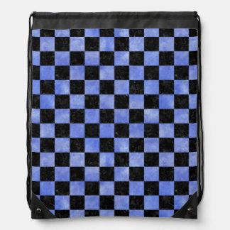 SQUARE1 BLACK MARBLE & BLUE WATERCOLOR DRAWSTRING BAG