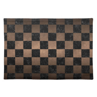 SQUARE1 BLACK MARBLE & BRONZE METAL PLACEMAT