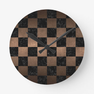 SQUARE1 BLACK MARBLE & BRONZE METAL ROUND CLOCK