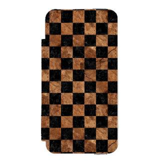 SQUARE1 BLACK MARBLE & BROWN STONE INCIPIO WATSON™ iPhone 5 WALLET CASE