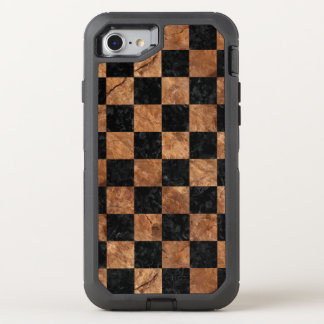 SQUARE1 BLACK MARBLE & BROWN STONE OtterBox DEFENDER iPhone 8/7 CASE