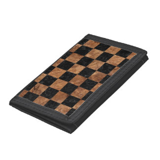 SQUARE1 BLACK MARBLE & BROWN STONE TRIFOLD WALLET