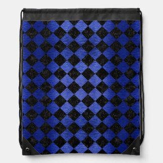 SQUARE2 BLACK MARBLE & BLUE BRUSHED METAL DRAWSTRING BAG
