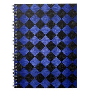 SQUARE2 BLACK MARBLE & BLUE BRUSHED METAL NOTEBOOK
