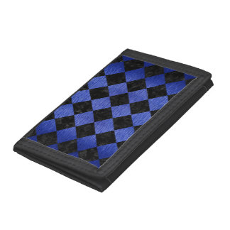 SQUARE2 BLACK MARBLE & BLUE BRUSHED METAL TRIFOLD WALLET
