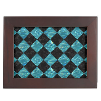 SQUARE2 BLACK MARBLE & BLUE-GREEN WATER KEEPSAKE BOX