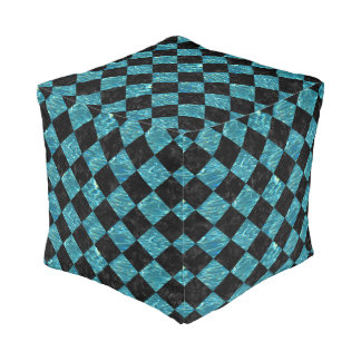 SQUARE2 BLACK MARBLE & BLUE-GREEN WATER POUF