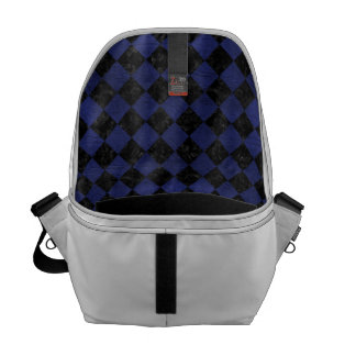 SQUARE2 BLACK MARBLE & BLUE LEATHER COURIER BAG