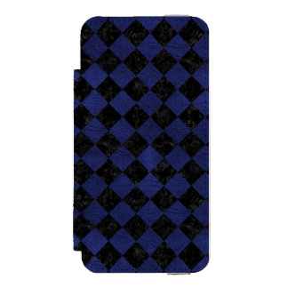 SQUARE2 BLACK MARBLE & BLUE LEATHER INCIPIO WATSON™ iPhone 5 WALLET CASE