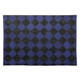 SQUARE2 BLACK MARBLE & BLUE LEATHER PLACEMAT