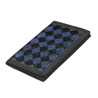 SQUARE2 BLACK MARBLE & BLUE STONE TRIFOLD WALLET