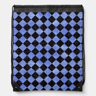 SQUARE2 BLACK MARBLE & BLUE WATERCOLOR DRAWSTRING BAG