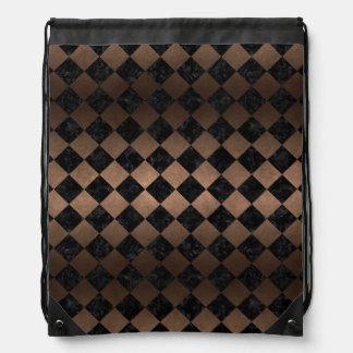 SQUARE2 BLACK MARBLE & BRONZE METAL DRAWSTRING BAG