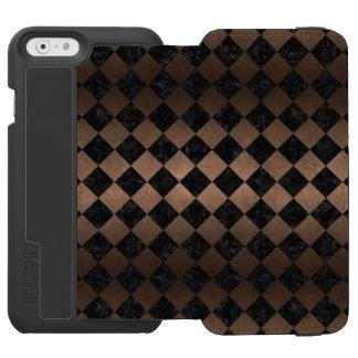 SQUARE2 BLACK MARBLE & BRONZE METAL INCIPIO WATSON™ iPhone 6 WALLET CASE