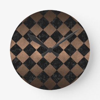 SQUARE2 BLACK MARBLE & BRONZE METAL ROUND CLOCK
