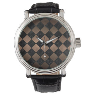 SQUARE2 BLACK MARBLE & BRONZE METAL WATCH