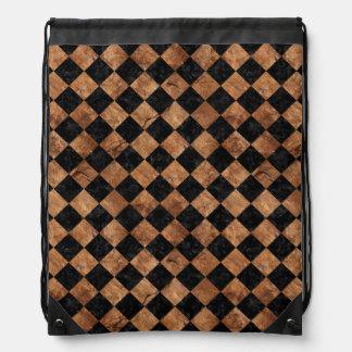 SQUARE2 BLACK MARBLE & BROWN STONE DRAWSTRING BAG