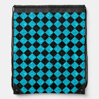 SQUARE2 BLACK MARBLE & TURQUOISE MARBLE DRAWSTRING BAG