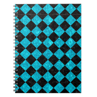 SQUARE2 BLACK MARBLE & TURQUOISE MARBLE SPIRAL NOTEBOOK