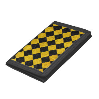 SQUARE2 BLACK MARBLE & YELLOW MARBLE TRI-FOLD WALLET