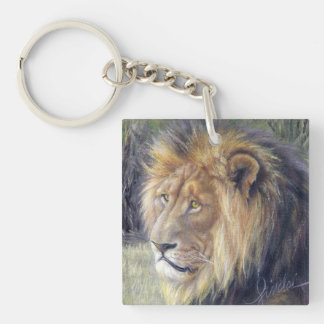 Square acrylic keychain with magnificent lion!