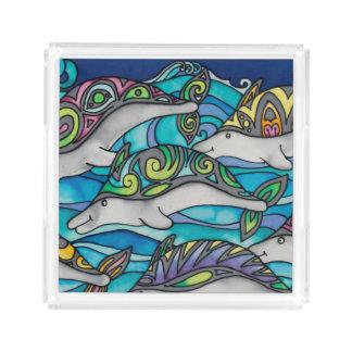 Square Acrylic Tray: Dolphin Series Acrylic Tray